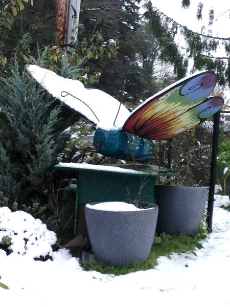 Bug Museum Butterfly Sculpture in 2016 Snowstorm. Myrna S.